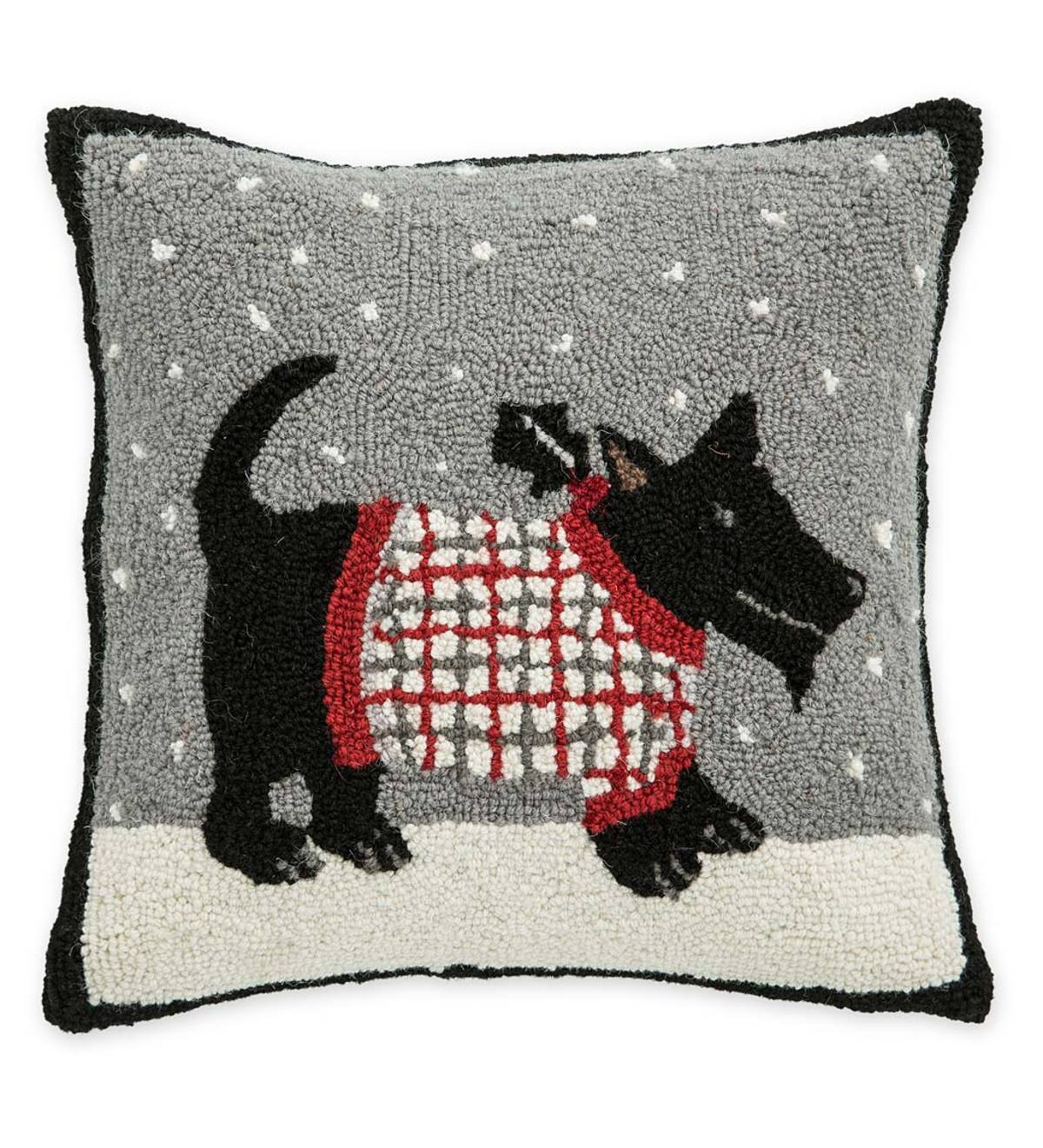 Hand-Hooked Wool Scottish Terrier Snow Day Throw Pillow