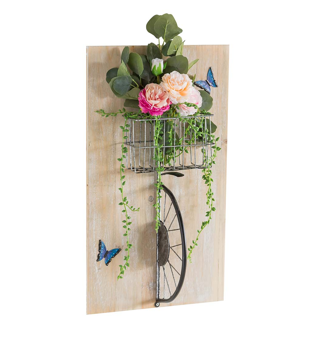 3D Bicycle with Flower Basket Wall Art