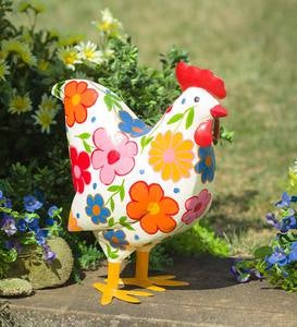 Folk Art Painted Metal Rooster