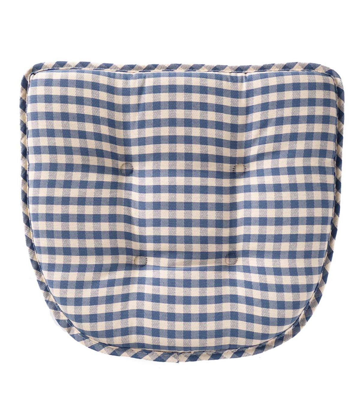 Non-Slip Gingham Chair Pad - Blue