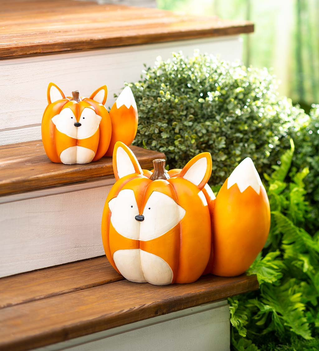 Mother And Baby Fox Pumpkin Statues, Set of 2