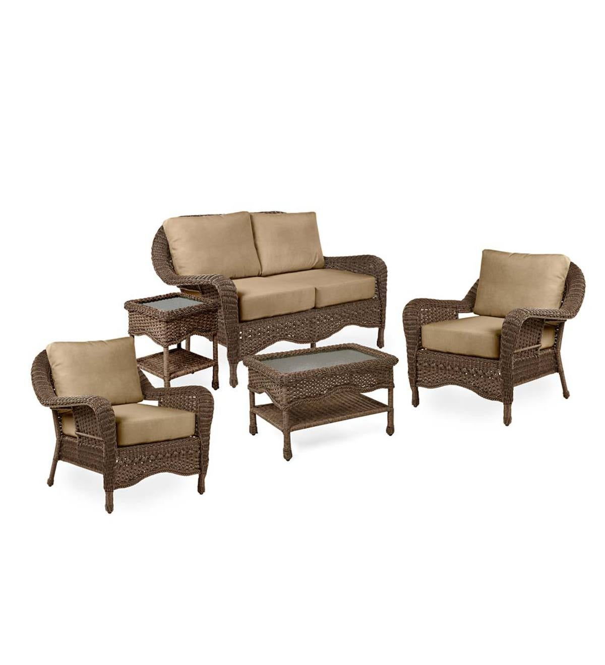 Prospect Hill Outdoor Wicker Deep Seating Love Seat Set with Cushions
