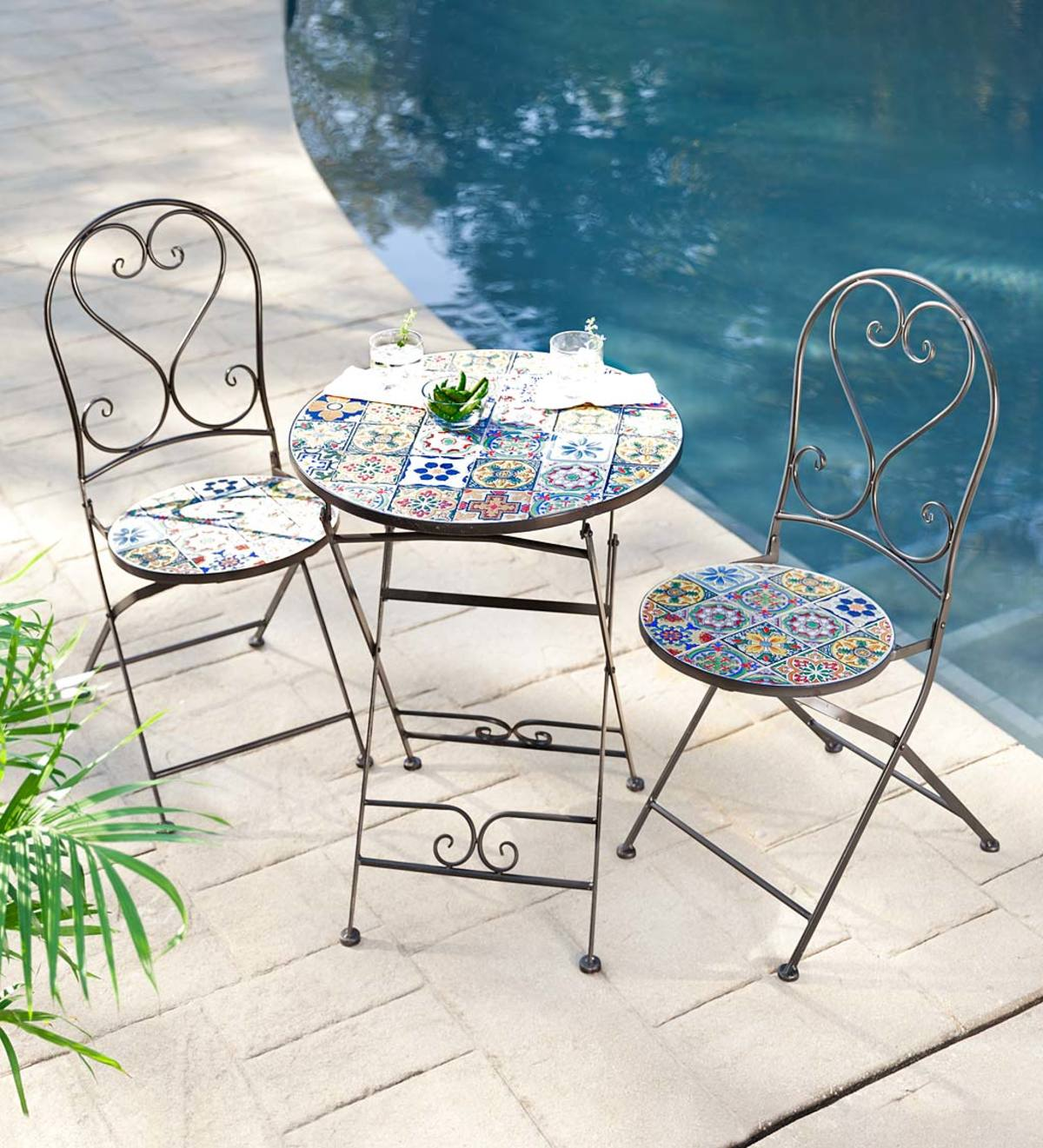 Mosaic Tile 3-Piece Bistro Set with Folding Chairs and Table