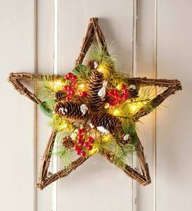 Lighted Pine Cone Star Holiday Accent
