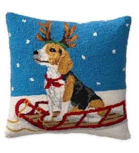 Hooked Wool Beagle On Sled Holiday Throw Pillow