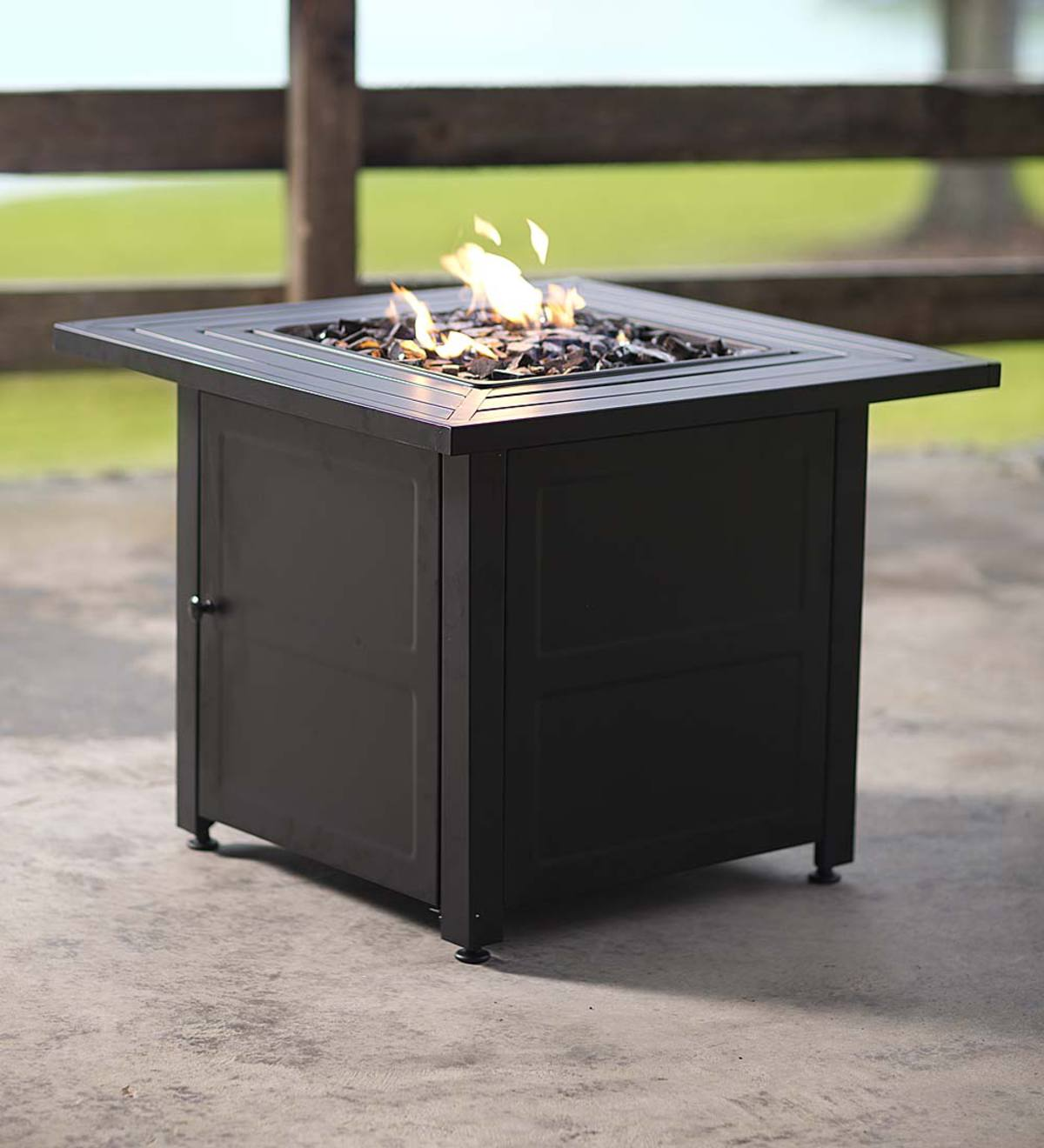 Slatted Propane Fire Pit with Black Fireglass - Slate