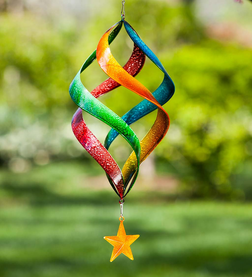 Hanging Rainbow Metal Swirl Spinner
