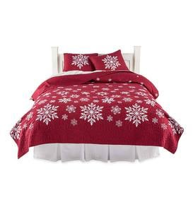 Falling Snow Embroidered Quilt Set, Twin