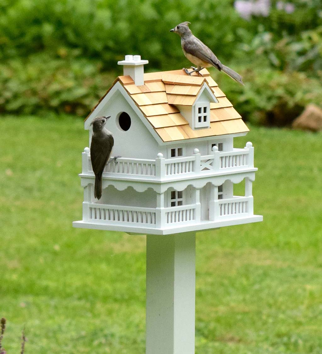 Wooden Cape Cod Birdhouse and Pedestal Pole Set