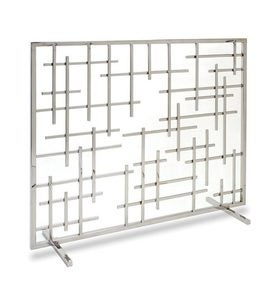 Contemporary Single Panel Summer Decorative Fireplace Screen - Black