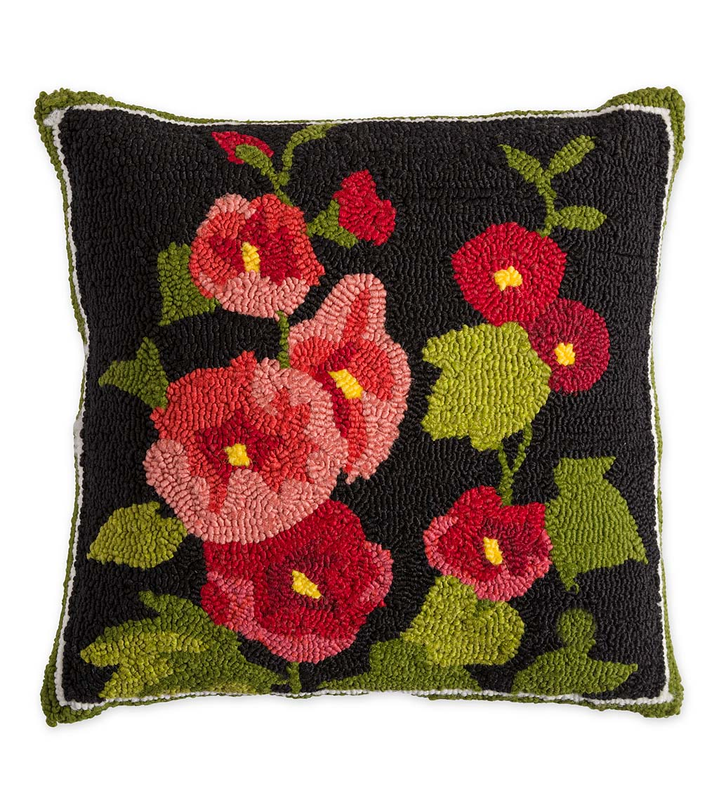 Indoor/Outdoor Hollyhock Hooked Throw Pillow