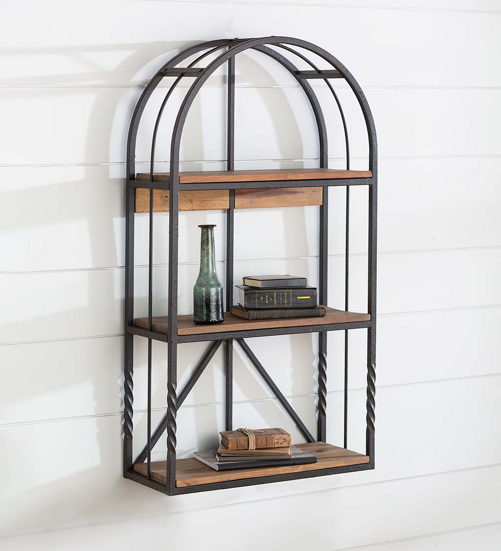 Deep Creek Wood And Metal Arched Wall Shelf