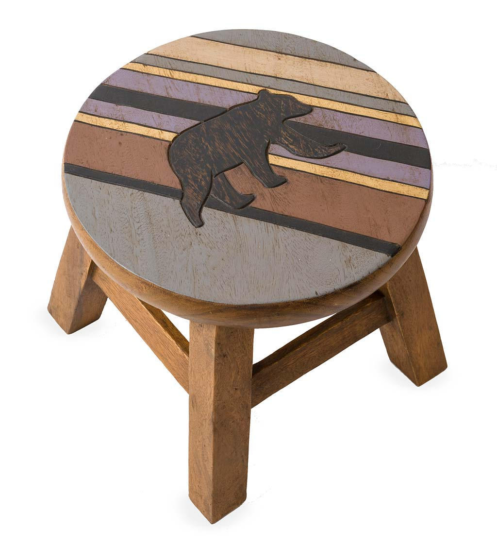 Hand Carved Acacia Wood Bear With Stripes Footstool Plowhearth