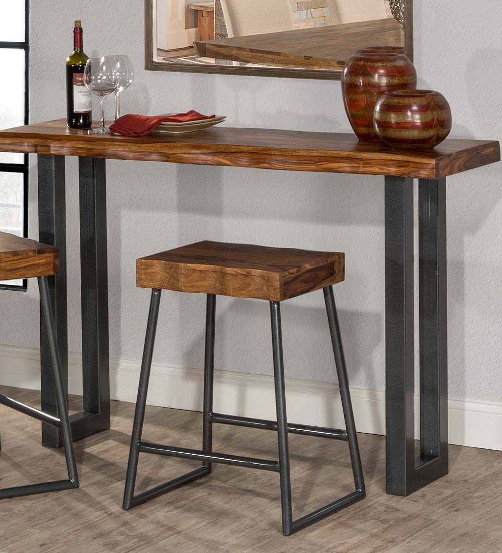 Eldicott 3-Piece Wood and Metal Sofa Table with Two Non-Swivel Stools Set