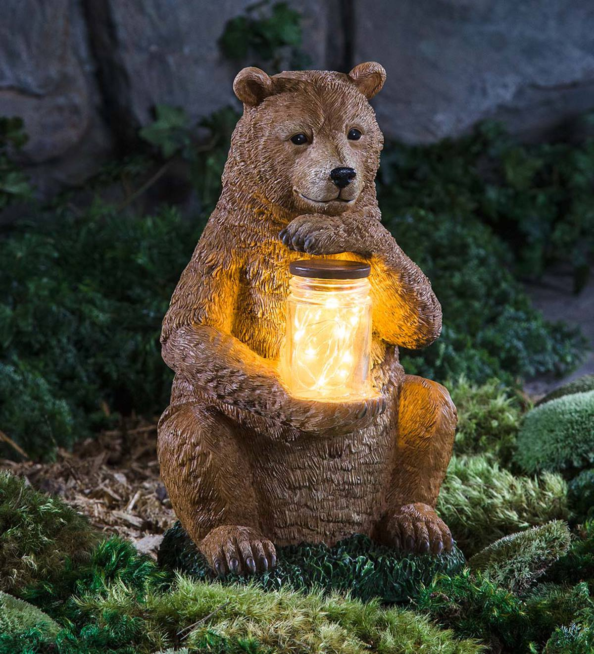 Woodland Animal Garden Sculpture with LED Jar