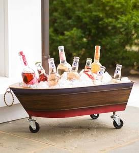 Metal Boat Drink Holder/Planter with Wheels