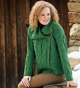 Merino Wool Corina Cardigan Sweater with Single-Button Front