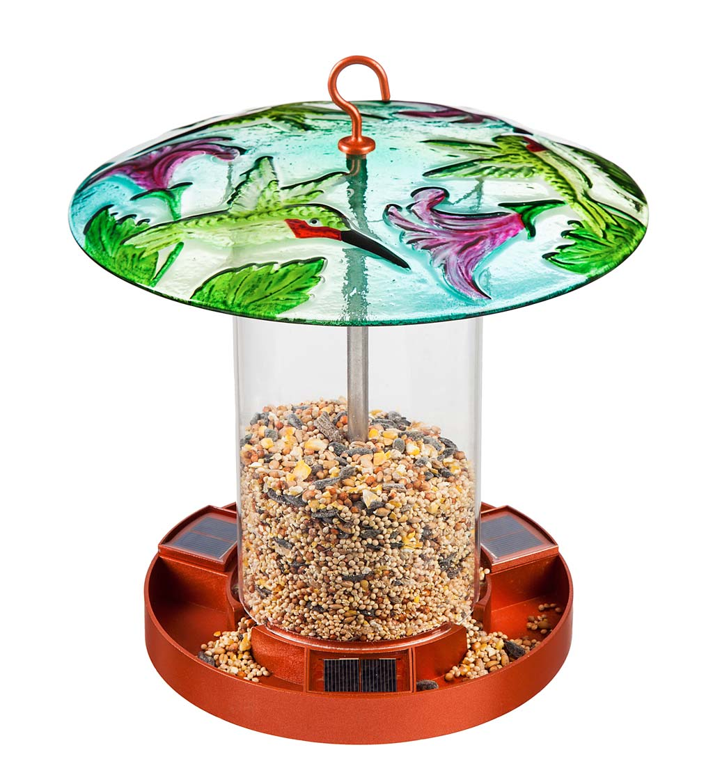 Hand-Painted Embossed Glass Hummingbird Solar Bird Feeder
