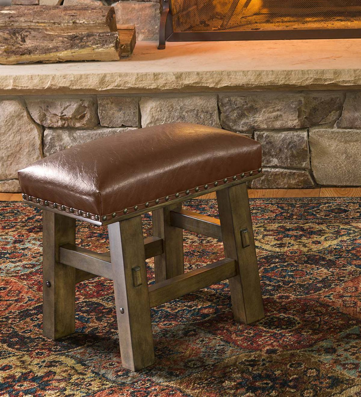 Plow And Hearth Furniture: Canyon Brown Leather Footstool