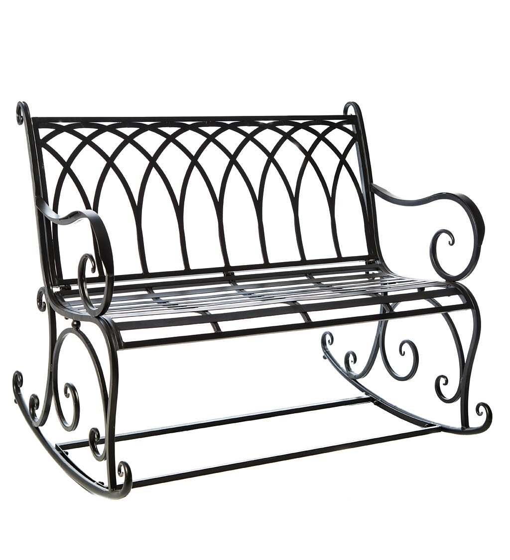 Black Metal Rocker Garden Bench - Black