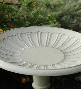 Kingston Vintage White Standing Metal Birdbath on Pedestal