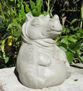 USA-Made Cast Stone Meditating Rhino