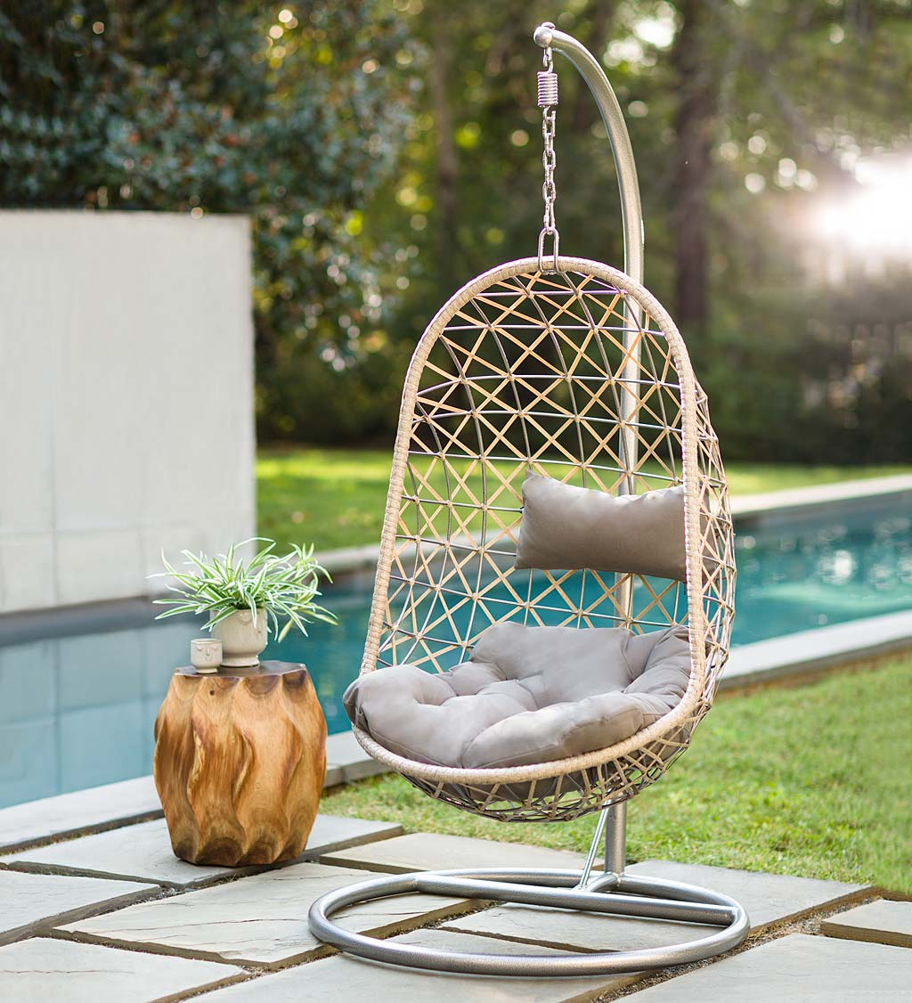 Indoor Outdoor Egg Chair Swing With, Hanging Egg Chair Outdoor No Stand