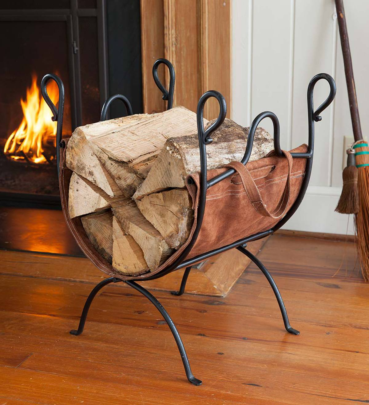 Folding Log Rack with Leather Sling