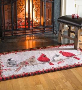 Friends Gathering Winter Birds Hooked Wool Accent Rug