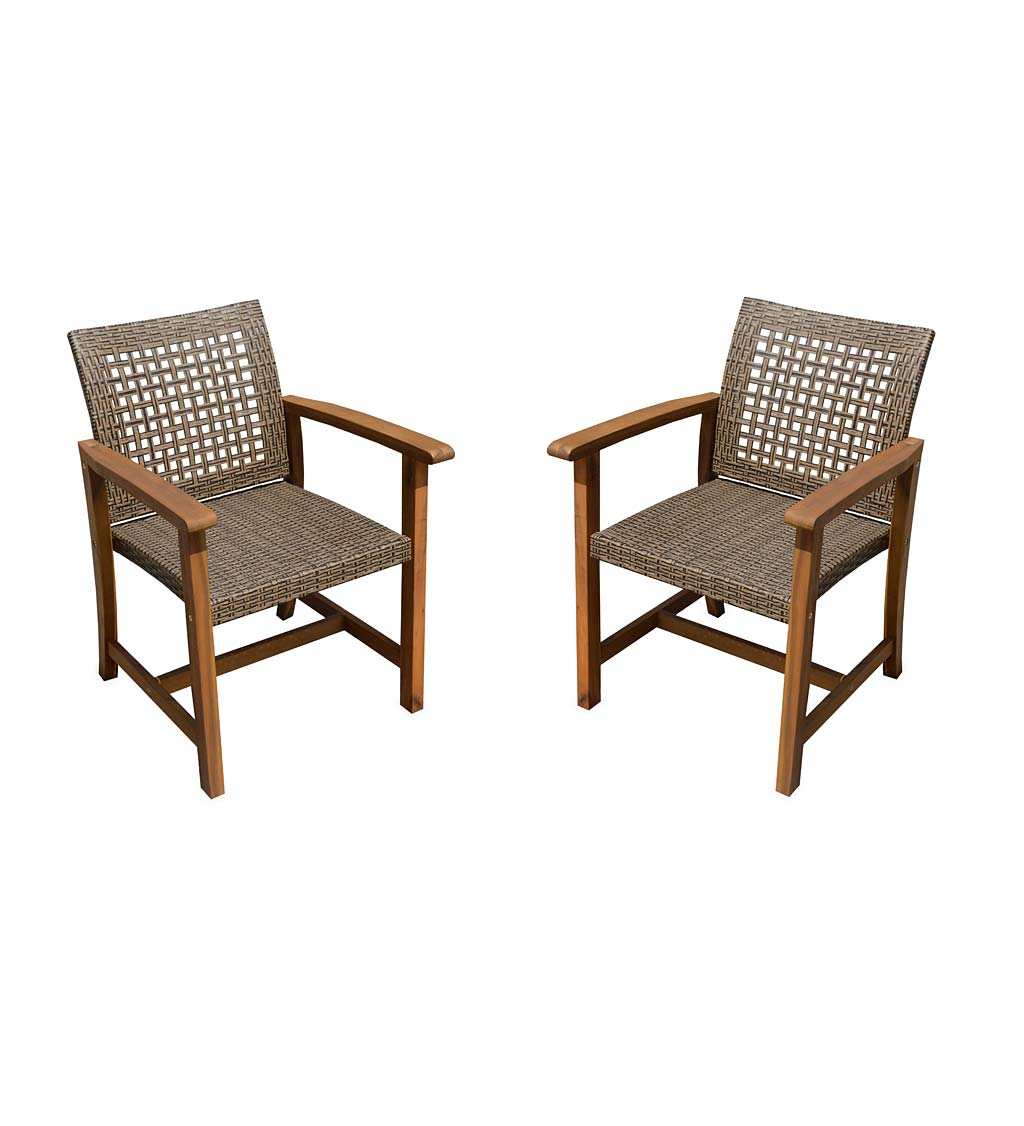 Lancaster Outdoor Eucalyptus and Wicker Woven Chairs, Set of 2