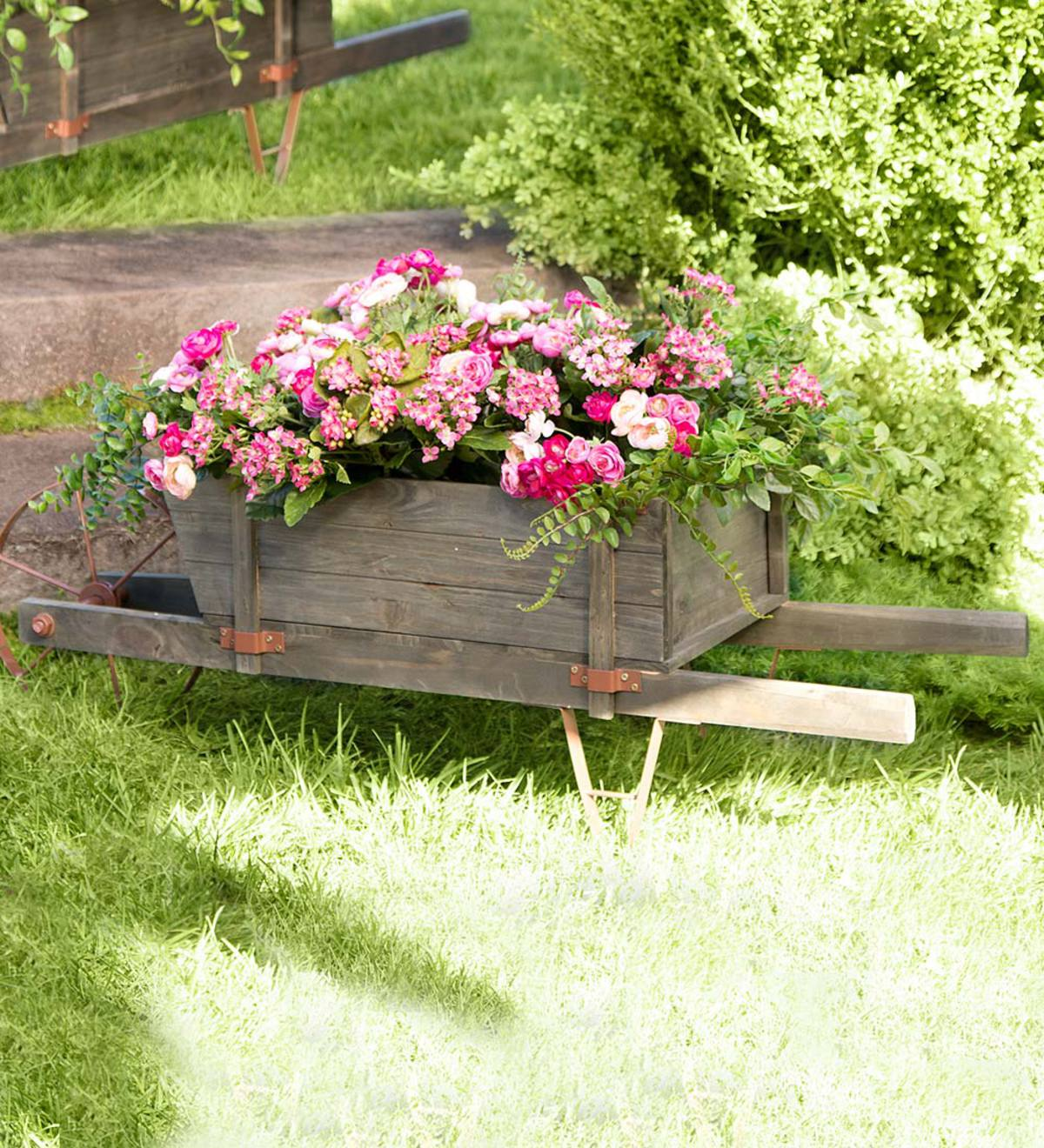 Extra Large Decorative Wood Wheelbarrow Planter Plowhearth