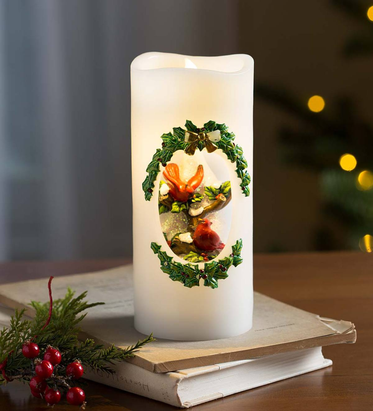 LED Cardinal Christmas Candle
