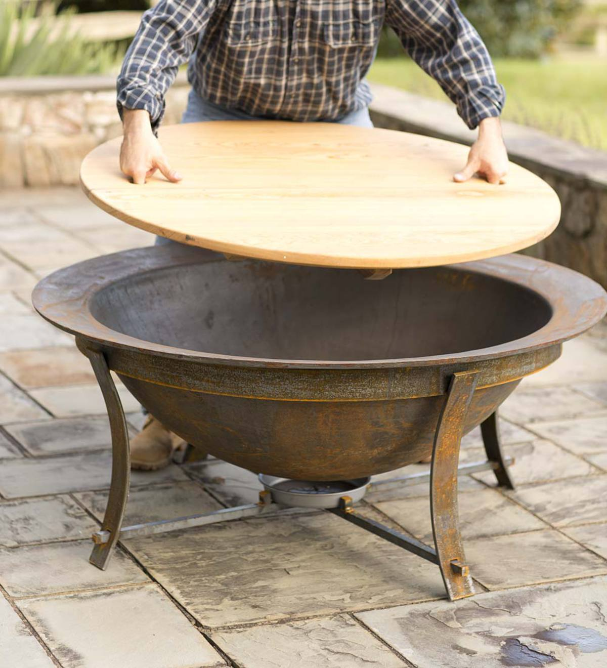 Syrup Kettle Fire Pit Cypress Tabletop