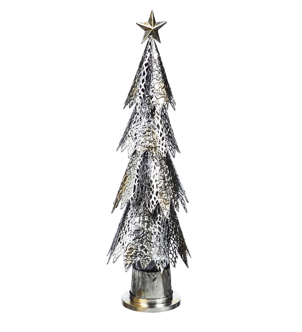 Metal LED Christmas Tree with Green Light