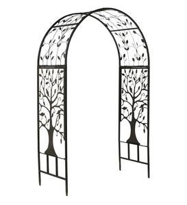 Metal Arched Garden Arbor with Tree of Life Design