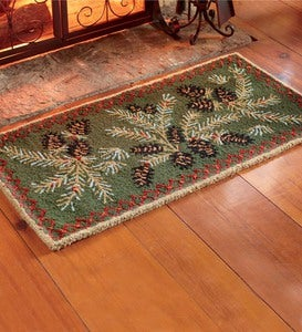 Hooked Wool Pine Cone Hearth Rug, 2' x 4'