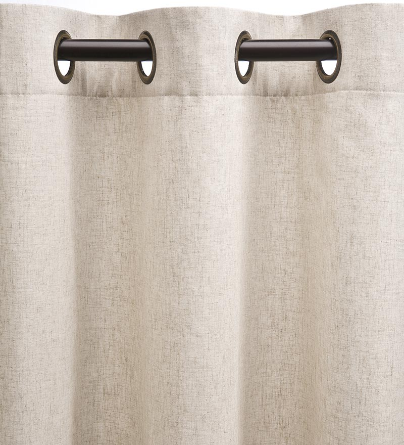 "Homespun Double-Wide Grommet Top Patio Panel with Wand, 84""L x 80""W - Linen"