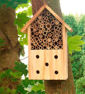 Wood And Bamboo Log Cabin Bee Habitat