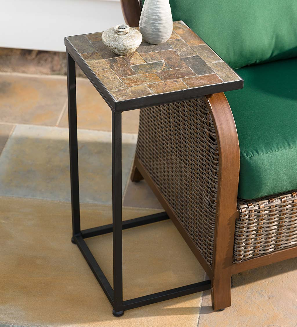 Slate Mosaic Pull-Up Side Table
