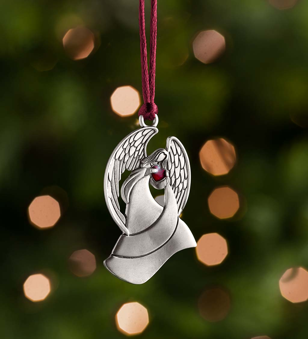 Solid Pewter Christmas Tree Ornament - Angel