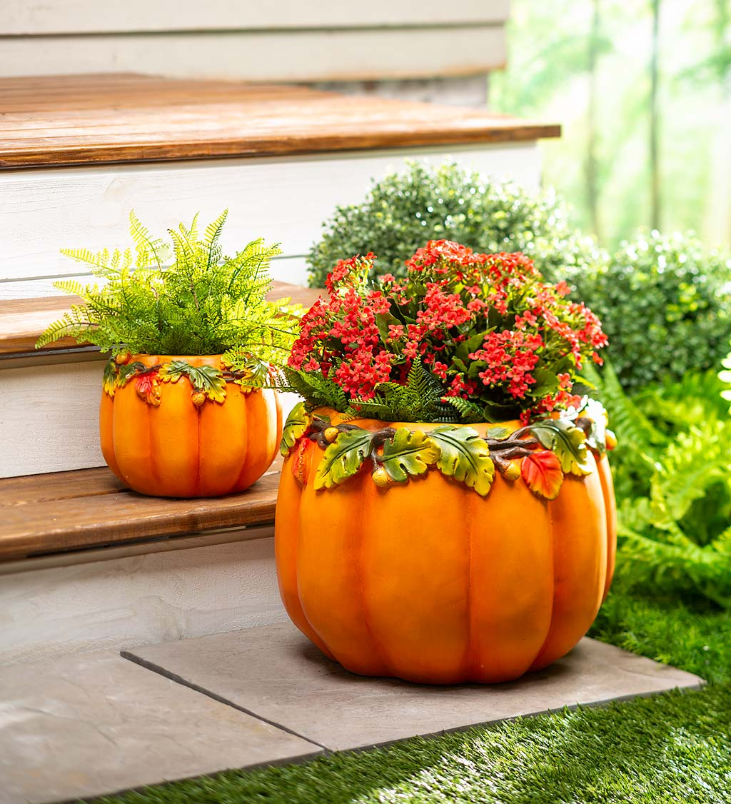 Indoor/Outdoor Pumpkin Planters, Set of 2