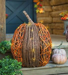 Lighted Vine Pumpkin Accent