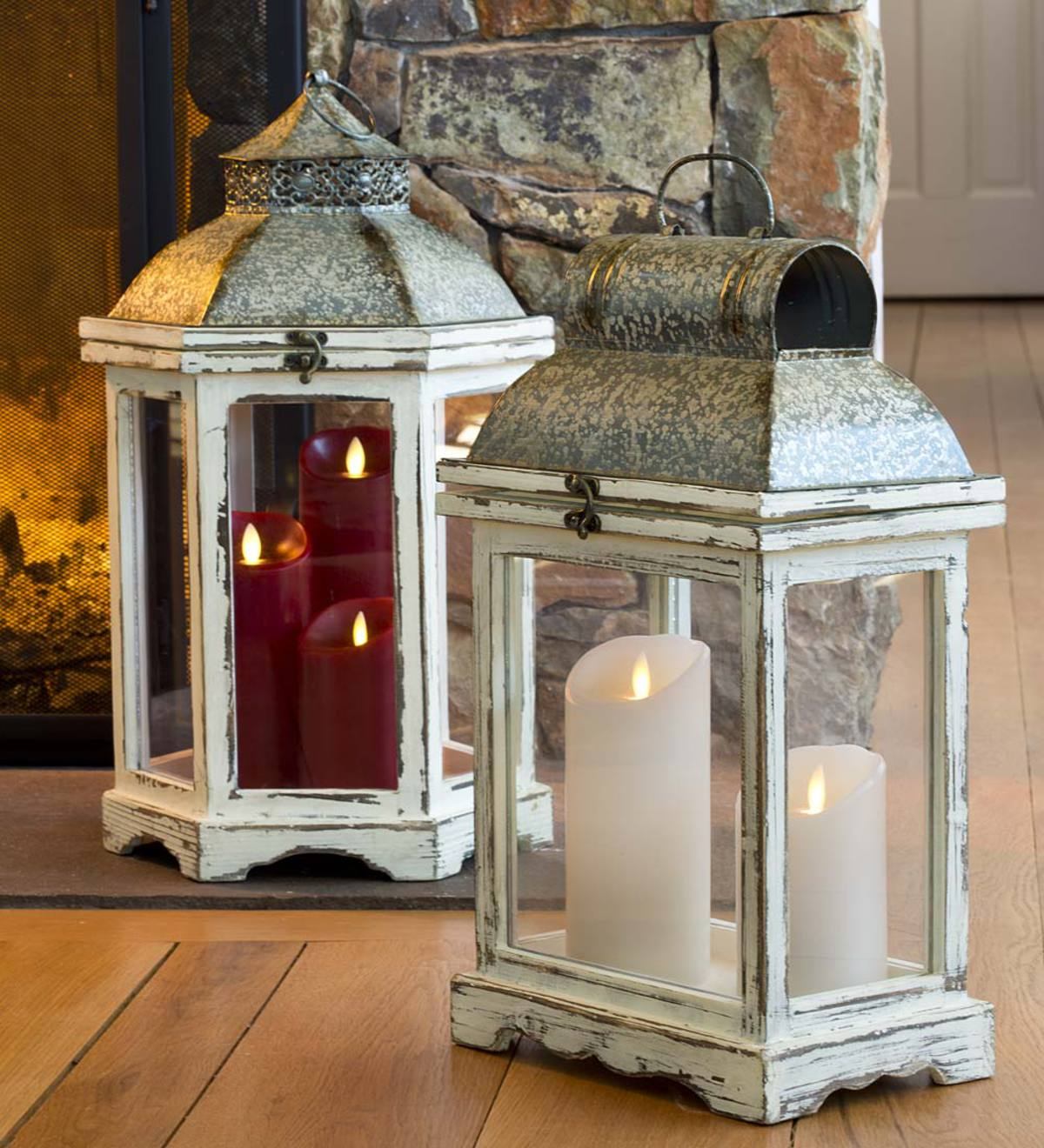 Indoor Lantern Lights: Rustic Indoor Lanterns, Set Of 2