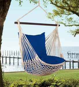 Rope Hammock Swing, Steel Stand And Pillows