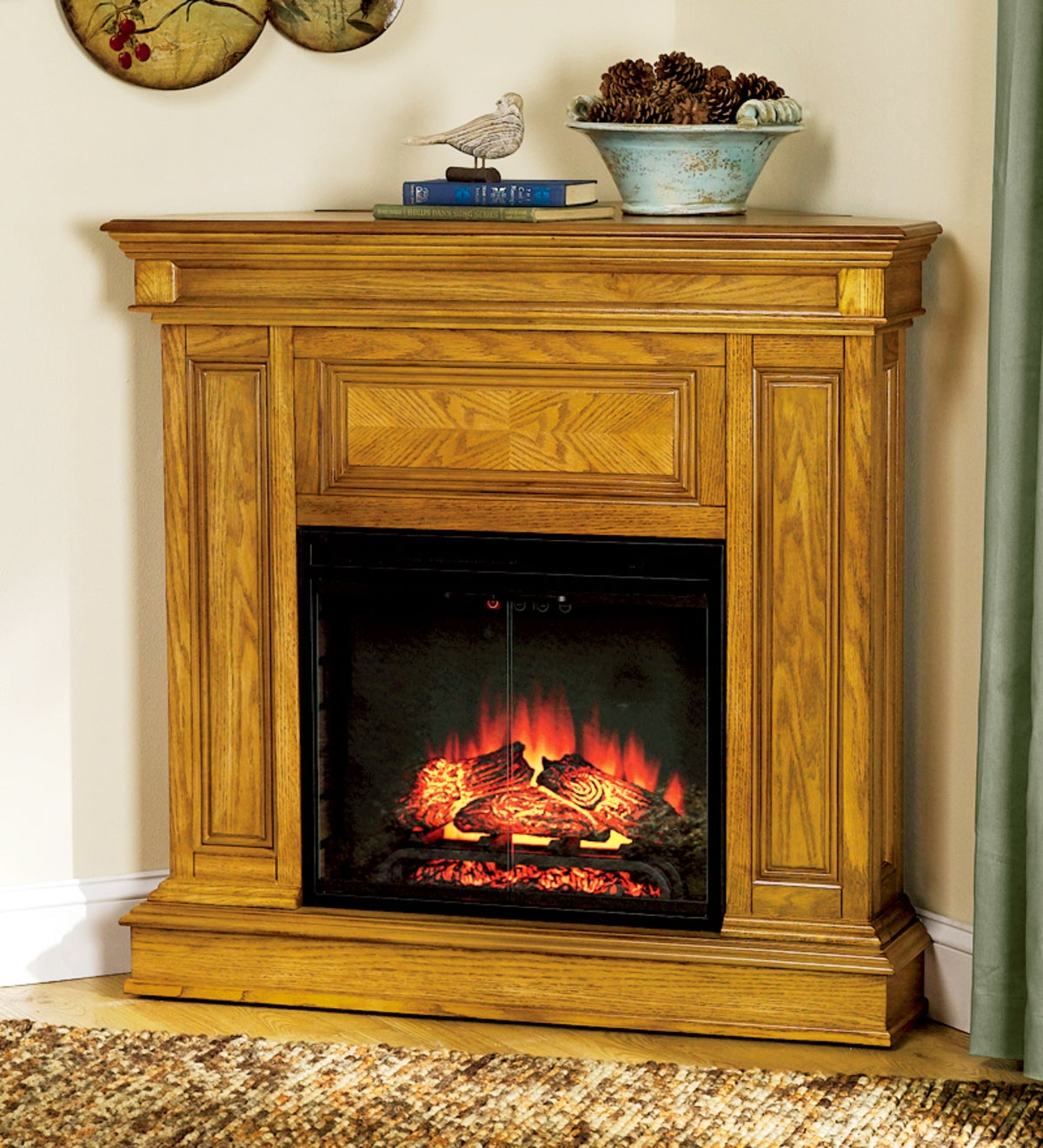 Phoenix Vent-Free Electric Fireplace with Realistic LED Flame - OAK