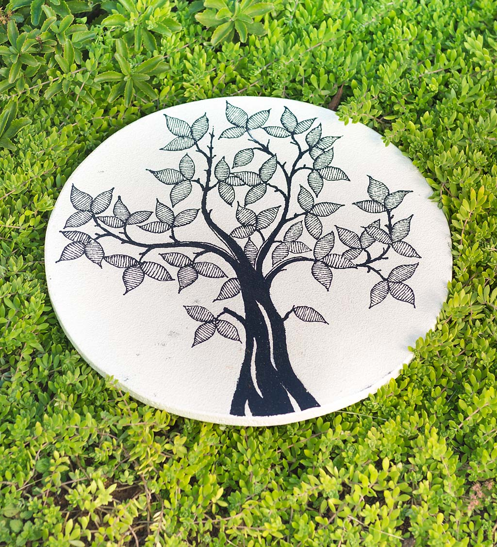 Decorative Garden Stone with Hand-Drawn Tree of Life