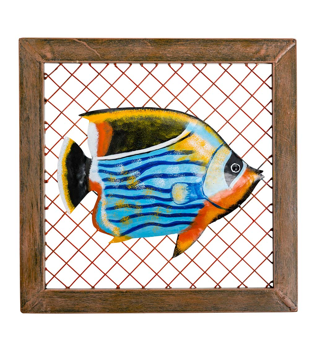 Handcrafted Framed Metal Fish Wall Art swatch image