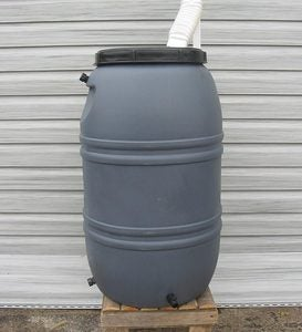 Weather-Resistant Polyethylene Plastic Water-Saving 55-Gallon Rain Barrel