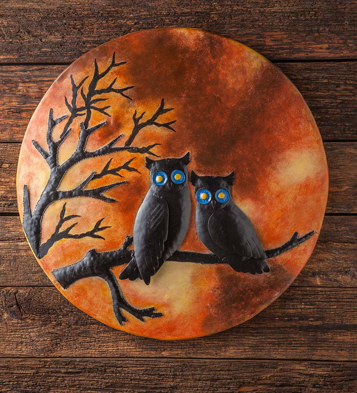 3D Midnight Owls on Branch Recycled Oil Drum Lid Wall Art