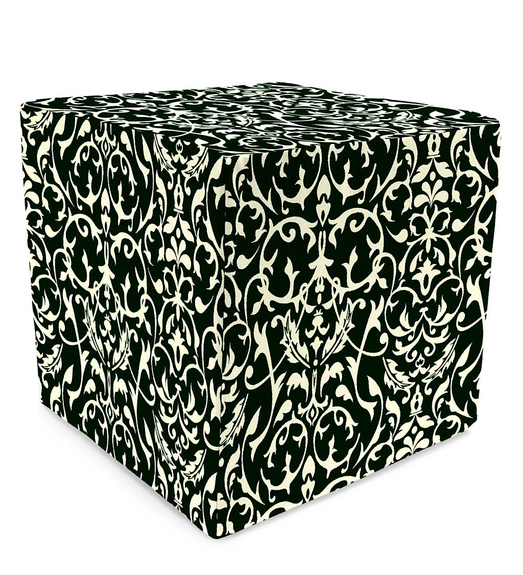 "Polyester Classic Cube Ottoman, 15""x 15"""